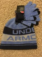 New Under Armour Youth Boys Beanie Hat Glove Combo Set One Size MSRP $29.99 Blue