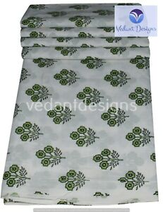 Indian 5 Yard Hand Block Print 100% Cotton Dressmaking Craft Fabric