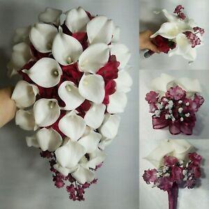 Ivory Burgundy Calla Lily Bridal Wedding Bouquet & Accessories