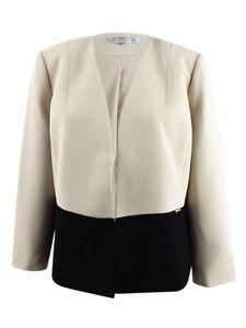 Tahari ASL Women's Petite Colorblocked Blazer 0P, Beige/Black