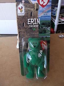 "1999 TY Beanies Irish Erin the Bear 4 1/2"" H FREE SHIPPING"