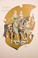 Lithographie Scene medievale 19° écuyères chasse au faucon, Vallet