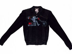 RELIGION/ BOMBER JACKET/ BLACK WITH RED AND GREY/ SIZE SMALL, 10 / EX COND