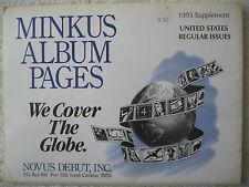 1993 MINKUS STAMP ALBUM SUPPLEMENT UNITED STATES REGULAR ISSUES