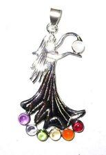 Silver Chakra Pendant Goddess Lady Sterling