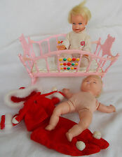 """2 Vintage Dolls - Mattel Cheerful Tearful 7"""" + Crib 1966 & UD Co Soft Body 3175"""