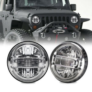 For Jeep Wrangler JK LJ TJ CJ Pair 7 Inch Halo LED Headlight Round High Low Beam