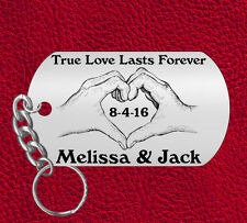 Not just for Valentines Day Keychain Gift, Personalized! Hands to Heart