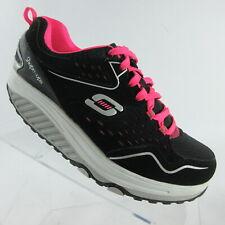 Sketchers Shape Ups Womens Walking Toning Shoes Black Pink Memory Foam Size 7