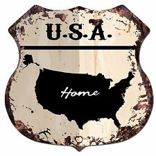 Bp0166 Home U.S.A. Map Shield Rustic Chic Sign Bar Shop Home Decor Gift
