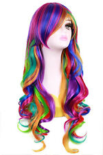 Long Curly Wavy Rainbow Wig Womens Cosplay Costume Full Wig Party Fancy Dress