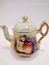Vintage Enesco Painted Fruit Gold Tone Trimmed Teapot