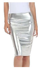 Womens PVC Wet Look Metallic Pencil Midi Skirts Ladies High Waist Leotard Top
