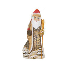 Unique Russian Hand Carved and Painted Santa with Winter Landscape