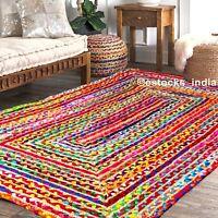 Natural Jute & Cotton Rectangular Braided Rugs Reversible Floor Area Mat Carpet