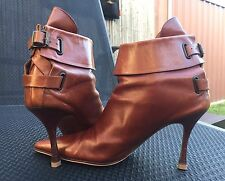 MANOLO BLAHNIK Cognac Tan Leather Back Strap Ankle boots, IT39/AU8.5