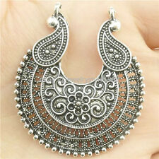 17367*5PCS Hollow Flower Moon Filigree Pendant Connector Tibetan Silver
