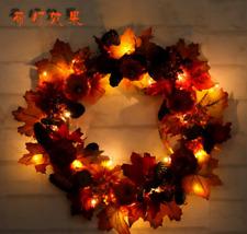 Fall Autumn Pumpkin Wreath light Harvest Door Decor Thanksgiving Halloween Decor