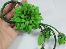Light Green Dahlia Handmade Flower Keychain Handbag Purse Charm Genuine Leather