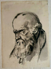 Unknown Artist Gouache on Paper, Portrait Painting 27 x 20 cm 18th 19th Century