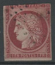 "FRANCE STAMP TIMBRE N° 6 b "" CERES 1F CARMIN FONCE 1849 "" OBLITERE A VOIR  N828"