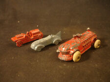Old Vtg Lead Toy Car LOT Tootsie Barclay Manoil Rubber Tires Fire Engine Truck