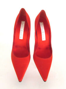 Women,s Heels Christian Lacroix Red Satin Pointy Toe mix Match Pumps :8/9.m