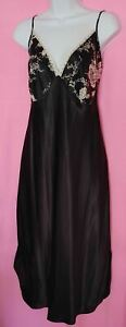 Secret Treasures Woman Black Satin Nightgown with Lace at Bodice - 1X
