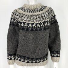 Vintage Handmade Wool Fuzzy Sweater Womens Nordic Fair Isle Ski Itchy Furry