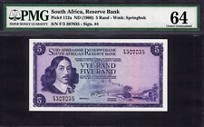 South Africa 5 Rand ND (1966) Signature- Rissik Pick-112a CH UNC PMG 64 SCARCE !