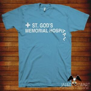 """Idiocracy T-shirt """"St. God's Hospital"""" inspired by Mike Judge classic 2006 movie"""