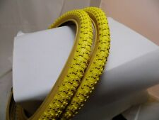Raleigh Burner Old School BMX Tyres / Comp 3 Tread / Yellow 20 x 1.75 (Pair of)