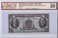 Royal Bank of Canada 1935, $20 Bill B16