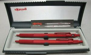 Rotring 600 Set Red Hexagonal Knurled Grip Ballpoint Pen & Pencil Set New In Box