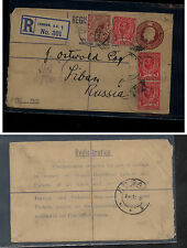 Great Britain double embossed postal regist envelope to stamp dealer Kl0610