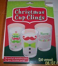 FUNNY Mustache CHRISTMAS Drinking Glass Cup Coffee Mug Clings 20 Count NIP