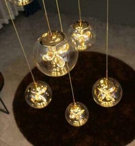 Luxury LED Staircase Pendant Lamp Living Room Rotating Long Pendant Lighting