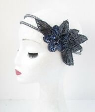 Navy Blue Grey Sequin Beaded Headband Headpiece 1920s Great Gatsby Flapper 4758