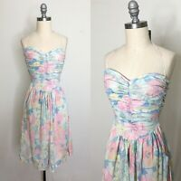 Vintage 80s Agness Au Ruched Halter Sundress Size Extra Extra Small