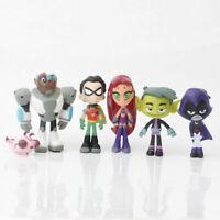 6Pcs Teen Titans Go Robin Cyborg Beast Boy Raven Starfire Action Figure Toy new
