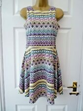 ATMOSPHERE Ladies Size 8 10 Pink Green Multi Aztec Geometric A line Skater Dress