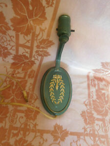 Vintage Green&Gold Tole Painted Metal Wall Sconce Lamp Light No Shade~FREE SHIP~