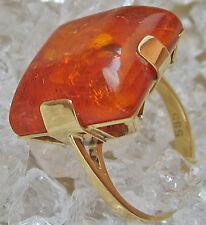✿Nice✿ Ring aus 14kt 585 Gold 5,9 Gramm massiv mit Bernstein Damen Herren amber