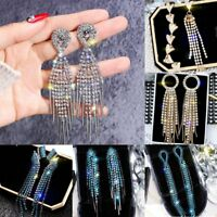 Luxury Crystal Tassel Love Heart Drop Dangle Earrings Women Jewelry Wedding Gift