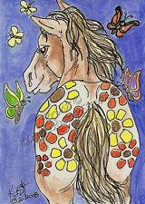 butterfly Flower appaloosa Horse ACEO PRINT EBSQ Loberg mini fantasy Animal Art