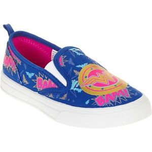 NEW Youth GIRLS Size 1 Wonder Woman Canvas Slip On Shoes Blue  **Free Shipping**