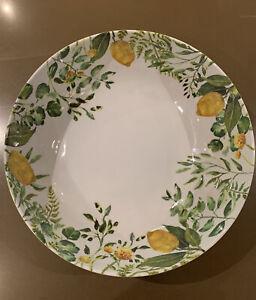 Large Summer Food Serving Salad Bowl 30cm. White with Lemon and Leaf Design