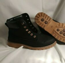 Ladies Work Boots Size US 8 EUR 41 black faux leather lace up unbranded