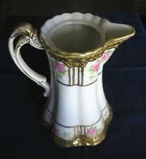 """Handpainted Nippon Teapot Pitcher Vase ~6"""" x 7-3/4"""" Tall Pink Roses w/ Gold Trim"""