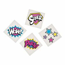 PINK SUPERHERO PARTY Tattoos Super hero Temporary Tattoo Pack of 36 Free Postage